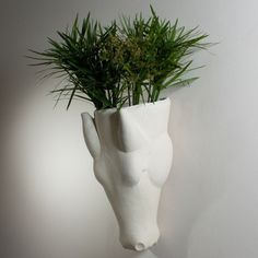 Global Views Studio A Equus Limestone Wall Vase in White, Transitional
