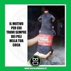 Quando trovi un #pelo nella tua coca! Tagga i tuoi amici e #condividi #bastardidentro #cane www.bastardidentro.it