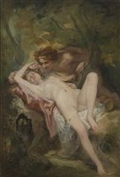 A nymph and a satyr in the woods par Nicolas François Octave Tassaert
