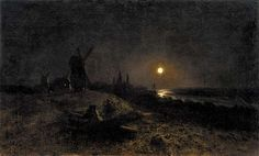 LAGORIO, LEV    LEV LAGORIO Seascape with a Mill by Moonlight,