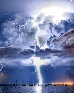 Lightning illuminates a cumulonimbus cloud over Corio Bay, Victoria, Australia, by James Collier.