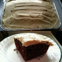 Black Joe Cake :)  CAKE: 2 c. flour 2 c. sugar 3/4 c. cocoa 1 tsp. baking powder 2 tsp. baking soda 1/2 tsp. salt 1/2 c. oil 1 c. milk 1 c. strong black coffee 1 tsp. vanilla 2 eggs ICING: 3 c. powdered sugar 1/3 c. peanut butter 1 1/2 tsp. vanilla 1/4 to 1/3 c. milk Cake: Combine all the dry ingredients in large bowl. Add liquids and eggs. Mix until blended. Pour into greased 9 x 13 x 2 inch cake pan. Bake at 350 degrees for 35 minutes. Cool. Icing: Mix powdered sugar and peanut butter…