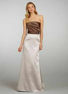 Strapless Satin A-line Bridesmaid Dress with Draped Bodice