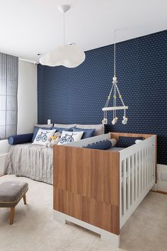 Blue is the perfect colour four kids' bedrooms, even if it is for girls! Click and check our amazing blue furniture and get drown in inspiration! Baby Bedroom, Baby Boy Rooms, Baby Room Decor, Nursery Room, Kids Bedroom, Bedroom Decor, Bedroom Ideas, Kids Rooms, Nursery Ideas