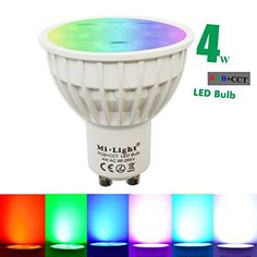 Mi-light Dimmable GU10 4W Led Bulb RGBW+CCT LED Spotlight Smart Home Led Light Bulb Lamp: br Warm Tips: brRGB+CCT = RGB+White and Warm White, 16Millions of colors to choose br Warm Tips: brRGB+CCT = RGB+White and Warm White, 16Millions of colors to choo