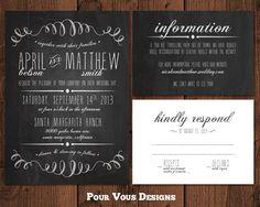 Chalkboard Wedding Invitation  Black & White  by PourVousDesigns