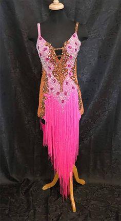 405299f5baaa Pink and Brown Latin Dress by JERAVAE Ballroom Jewelry, Latin Ballroom  Dresses, Dance Costumes