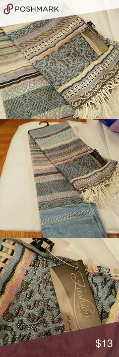SCARF MULTI COLORED AZTEC WITH FRINGE!!! Brand new with tags. BEAUTIFUL FOR SPRING! Goes with everything and blue jeans!!! Bundle and make an offer! Reasonable offers accepted. No trades. Thank you!!! Mirabeau Accessories Scarves & Wraps