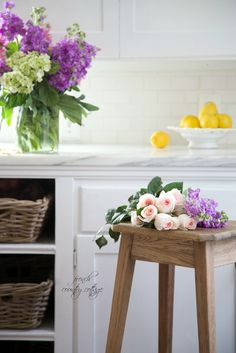 FRENCH COUNTRY COTTAGE: French Cottage Kitchen Refresh- Reveal.  Marble #countertops from Arizona Tile