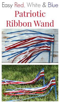 Easy DIY red, white and blue patriotic ribbon wands for at-home dance parties, parades and toddler fun. Preschoolers love to dance with ribbon wands. Celebrate of July, Memorial Day, Veterans Day - any day is a party when you make your own ribbon wand. 4th July Crafts, Fourth Of July Crafts For Kids, Patriotic Crafts, Fouth Of July Crafts, Daycare Crafts, Toddler Crafts, Toddler Fun, Kid Crafts, Summer Crafts