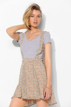 Pins and Needles Floral Chiffon Suspender Skirt