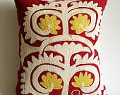 Sukan / Hand Embroidered Silk Suzani Pillow Cover Decorative Pillow Lumbar Pillow Cover. $149.95, via Etsy.