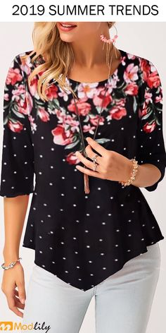 Stylish Tops For Girls, Trendy Tops, Trendy Fashion Tops, Trendy Tops For WomenPolka Dot Print Black Asymmetric Hem T ShirtCheap womens trendy tops Tops online for sale Woman Clothing, Trendy Tops For Women, Looks Plus Size, Couture, Polka Dot Print, Fashion Outfits, Womens Fashion, Girl Fashion, Blouse Designs