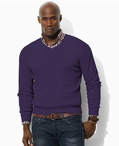 Polo Ralph Lauren Big and Tall Sweater, Pima Cotton V Neck Sweater - Mens Sweaters