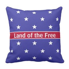 Custom Red White and Blue Patriotic Throw Pillow - independence day 4th of july holiday usa patriot fourth of july