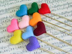 Felt Heart Sticks_Set of Plush Handmade Felt Love by ErdraDecor