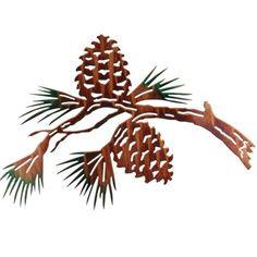 Pine Cone Branch Metal Wall Art
