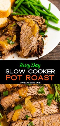 Busy Day Slow Cooker Pot Roast Slow Cooker Pressure Cooker, Slow Cooker Roast, Crock Pot Slow Cooker, Slow Cooker Recipes, Crockpot Recipes, Pot Roast Recipes, Meat Recipes, Easy Meal Plans, Recipes