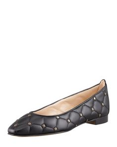 Giungla Quilted Leather Skimmer, Black by MANOLO BLAHNIK at Bergdorf Goodman.