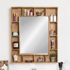 Swanage Rustic Wood Cubby Framed Wall Storage Accent Mirror & Reviews | Joss & Main