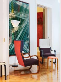 Armchair 401 and floor lamp by Alvar Aalto from Artek Floor Chair, Floor Lamp, Alvar Aalto, Armchair, Indoor, Living Room, Color, Inspiration, Furniture