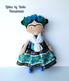 Little Frida. Blue collors UNique- Ready to ship.  Here I present the version Frida Kahlo children style, the Mexican painter known for his portraits, reflecting their loneliness in pure art. this doll is a tribute to her fame, and her lovers.  Tilda children are made special to you whos love Frida.. shes is a decorative doll, will bring to your home, great harmony and happiness to your home, these doll are very cute, give us a lot of love in her eyes, this came from the enchanted world…