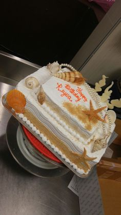 Beach Themed Stacked Sheet Cake