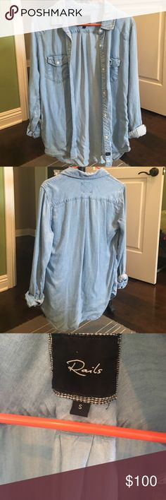 Rails Chambray Shirt Light blue chambray. Soft lightweight fabric, Two pockets on chest. Rounded hem. Worn only a couple times. Rails Tops Button Down Shirts