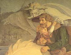 Goethe, Erlkönig, Wer reitet so spät durch Nacht und Wind. Fresko von Carl Gottlieb Peschel, Ausschnitt