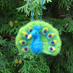 Needle felted peacock ornament or brooch bird pin.