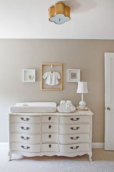 Dresser for baby changing table.Love the dresser 12 best warm neutral paint colors for your walls // neutral nursery design // nursery rooms Nursery Twins, Nursery Room, Nursery Decor, Child's Room, Nursery Ideas, Burlap Nursery, Nursery Set Up, Chic Nursery, Wall Decor