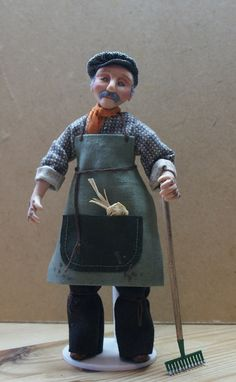 Alfie the Gardener, handsculpted miniature doll in 1/12th (one inch) scale