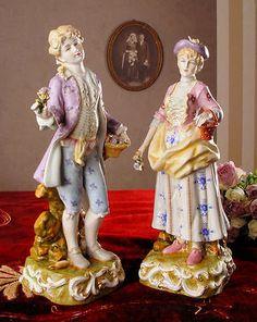 Due Figurine Di Porcellana Rococò Stile Galantes Paio Vintage Porcellana