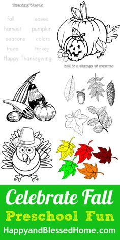 FREE Fall Printables for Preschoolers - word tracing, leaf and tree craft, coloring pages - EASY activity from  HappyandBlessedHome.com
