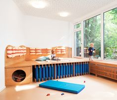 daycare plywood storage system for kids - design by Baukind