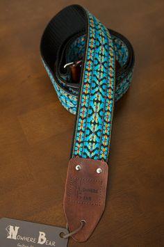 Blue/Black Vintage-styled Guitar Strap on Etsy, $50.00