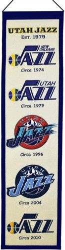 Utah Jazz Winning Streak Heritage Banner - Banner is 8x32 and depicts the evolution of Jazz logos with circa dates - Embroidery and applique detail on wool blend felt