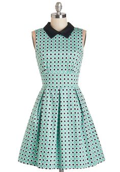 Work in Finesse Dress. Contribute to your companys success while looking chic in the crisp collar, comfortable stretch cotton, and black-and-white tile print of this turquoise dress! #blue #modcloth