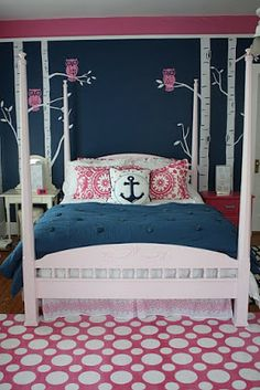 Dusty Blue Rooms | Nautical Little Girls Rooms