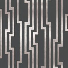 Art Deco pleasing wall covering, dark grey and silver. Velocity, from Candice Olson Shimmering Details. Part of York Designer Series.