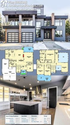 Architectural Designs Modern House Plan 81683AB || This home is exceptionally large but the rooftop deck is a great touch