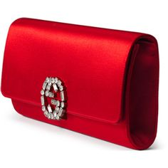 Gucci Broadway Satin Evening Clutch Bag ($890) ❤ liked on Polyvore featuring bags, handbags, clutches, satin purse, accessories handbags, red handbags, cocktail purse and red clutches