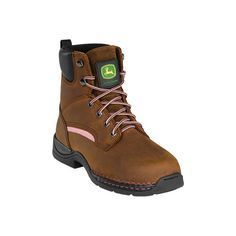 Women's John Deere Boots Lightweight Steel Toe Hiker 3612 - Brown... ($160) ❤ liked on Polyvore featuring shoes, brown, oil resistant shoes, hiking boots, safety toe shoes, electrical hazard shoes and nubuck leather shoes
