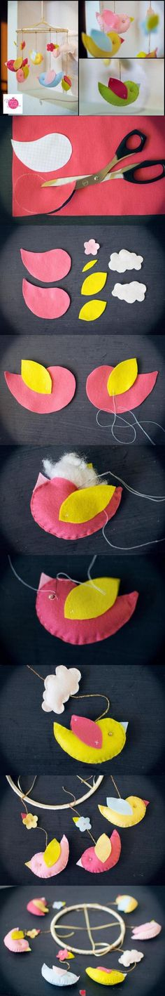 DIY Fabric Bird Mobile DIY Projects - hang from branch! Baby Crafts, Felt Crafts, Fabric Crafts, Bird Mobile, Felt Mobile, Mobile Mobile, Diy For Kids, Crafts For Kids, Arts And Crafts