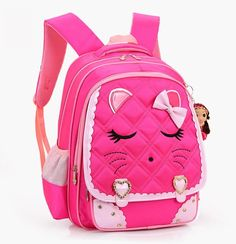 e504c63bea1c Adorable little backpack for your girly girl. The bags are all decorated  with a cute face on the flap and accented with a bow.