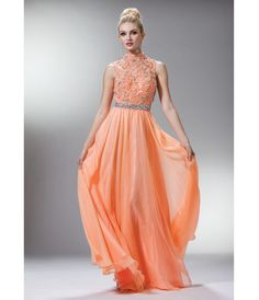 Peach Lace & Chiffon Victorian Collar Gown
