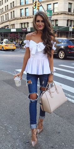 Ripped jeans off the shoulder top