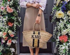 MONOGRAMMED PERSONALISED BASKET BY PINK WATERS. SHOP THE RANGE AND CREATE YOUR OWN BRAND! Personalised Childrens Gifts, Personalized Luggage, Floral Backdrop, Basket Bag, Resort Wear, Jewelry Gifts, Straw Bag, Create Your Own, Monogram