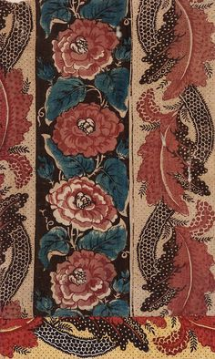 Broad white and brownish-black stripes. On the white stripes are red roses with blue leaves and buds. The white stripe is covered with black dots and has an undulati … Textile Patterns, Textile Design, Fabric Design, Print Patterns, Vintage Textiles, Antique Prints, Motif Floral, Floral Prints, The White Stripes