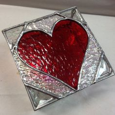 Stained Glass Jewelry Box Red Heart Box by PeaceLuvGlass on Etsy, $48.00